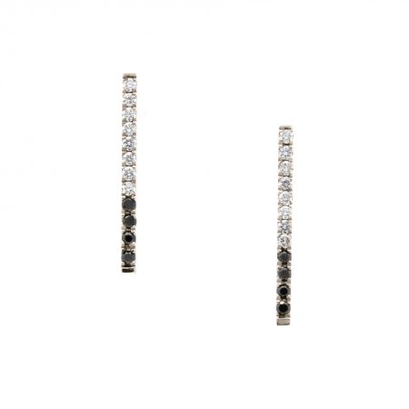Pave Black Diamond Bar Earrings