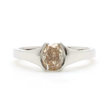 Champagne Diamond Half Bezel Ring