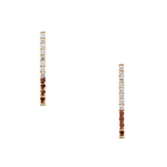 Pave Cognac Diamond Bar Earrings