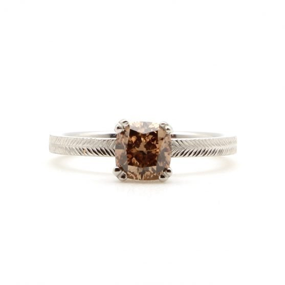 Cognac Diamond Chevron Ring