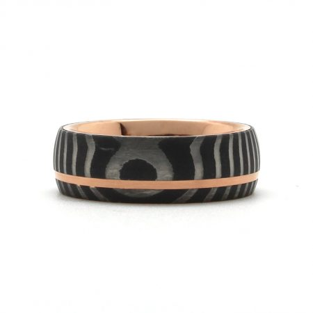 Damascus Steel Rose Gold Ring