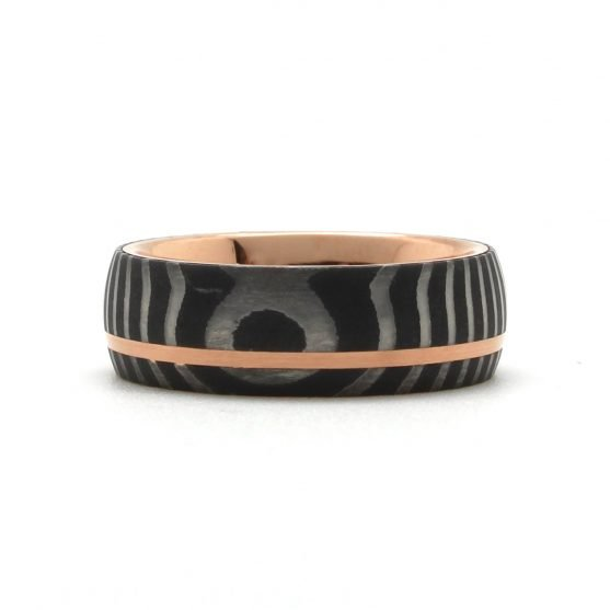 Damascus Steel Rose Gold Ring
