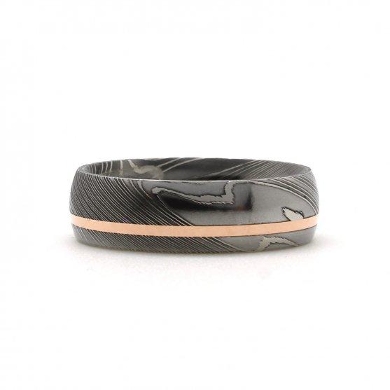 Damascus Steel Rose Gold Inlay Ring