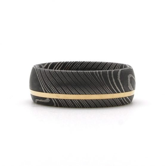 Damascus Steel Yellow Gold Inlay Ring