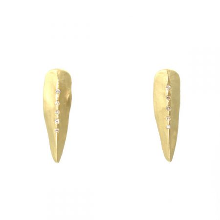 Carved Diamond Spike Earrings