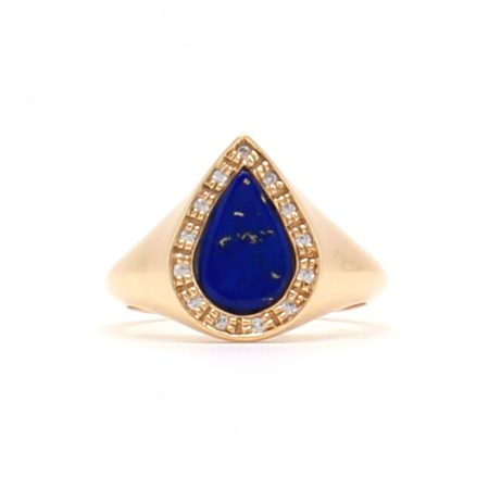 Lapis Diamond Signet Ring