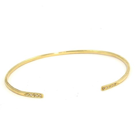 Open Hammered Diamond Bangle