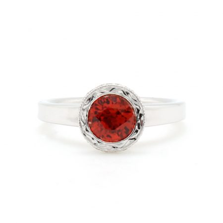 Orange Sapphire Engraved Halo Ring