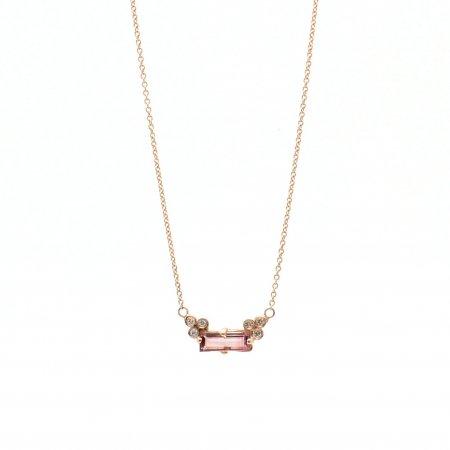 Pink Tourmaline Baguette Pendant