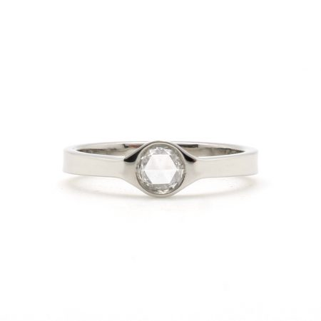 Rose Cut Platinum Bezel Solitaire Ring