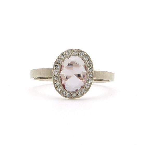 Rose Cut Pink Sapphire Halo Ring