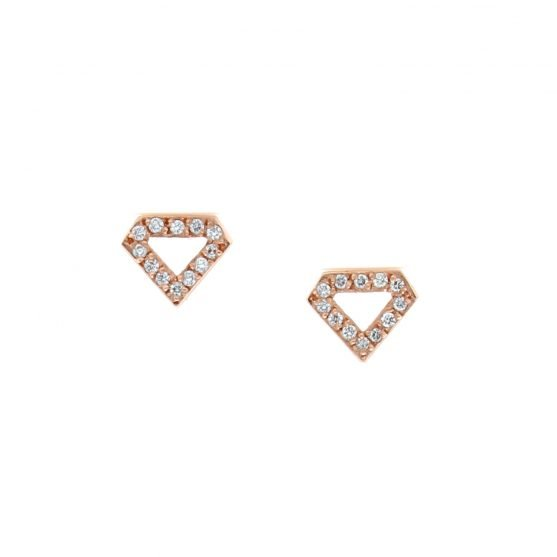 Rose Gold Pave Diamond Shaped Studs