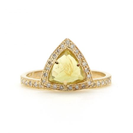 Yellow Tourmaline Trillion Ring