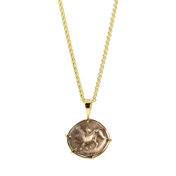 Dh jewelers san francisco shop eco friendly conflict free ancient greek coin and yellow gold pendant mozeypictures Images