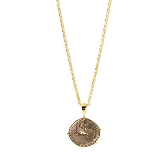 Ancient Greek Coin and Yellow Gold Pendant