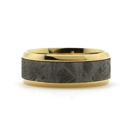 Bevel Edge Gold Meteorite Band