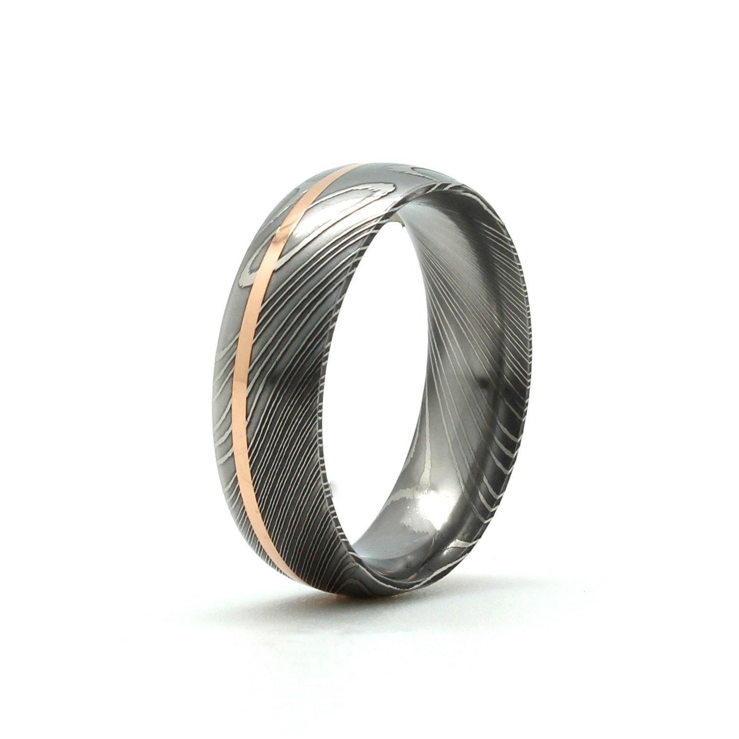 Mens Wedding Rings Damascus Steel