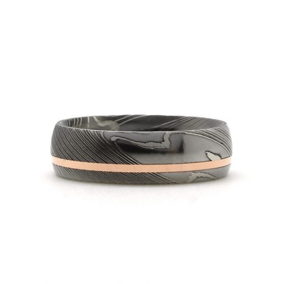 Damascus Steel Rose Gold Inlay Ring