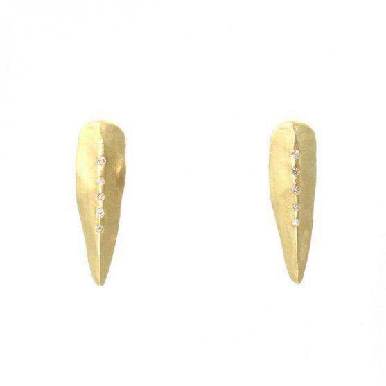 Carved Diamond Spike Earrings