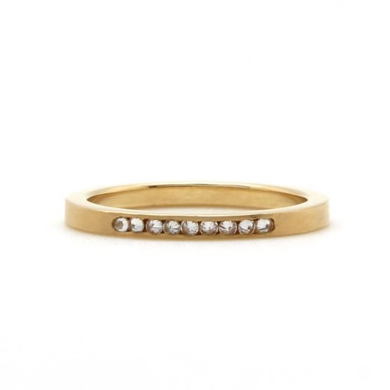 Inverted Yellow Gold Diamond Band