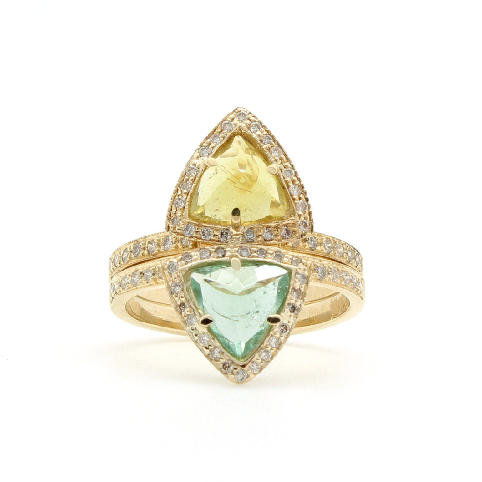 green white picture rings of arthurs rse gold collection gemstone product