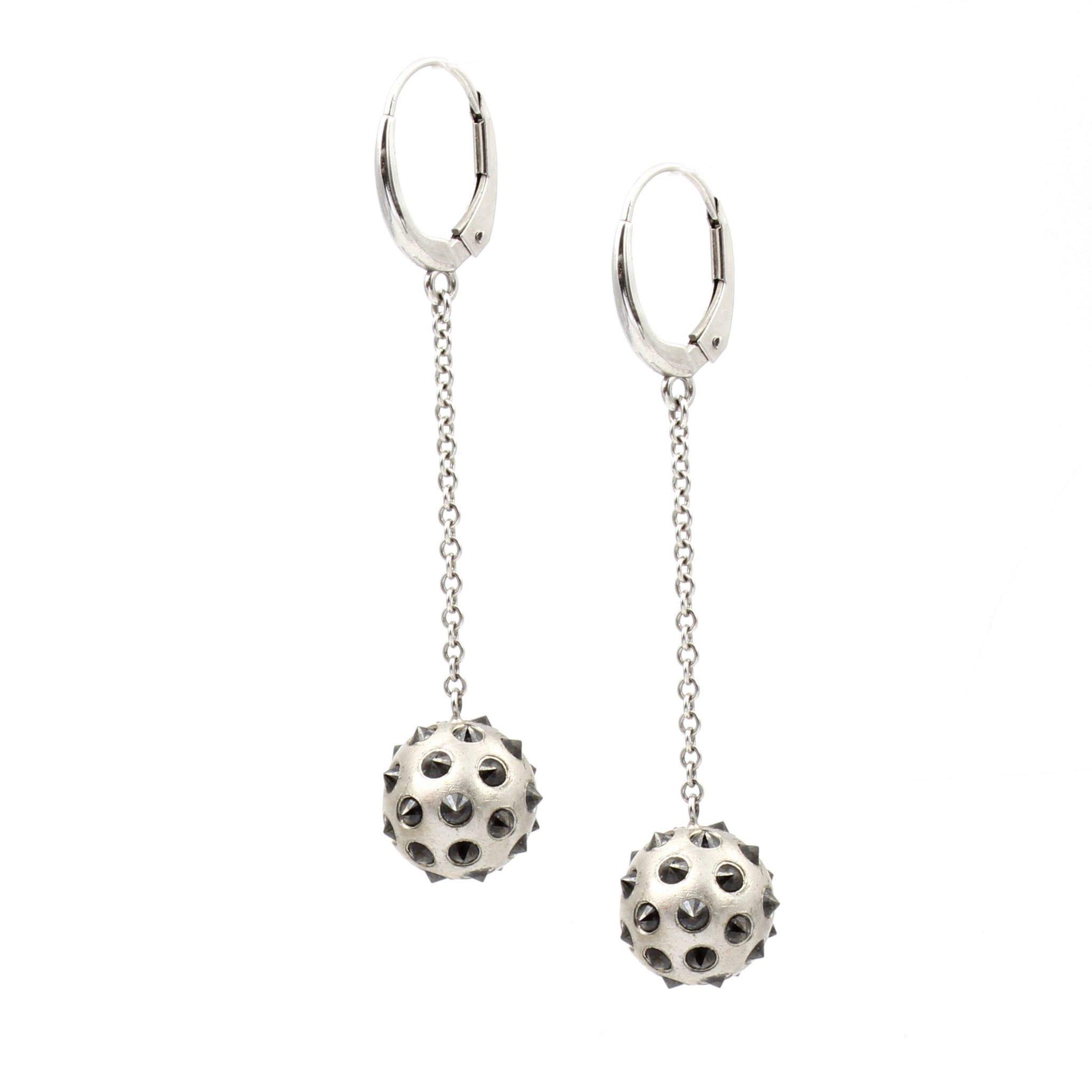 Inverted Black Diamond Ball Earrings