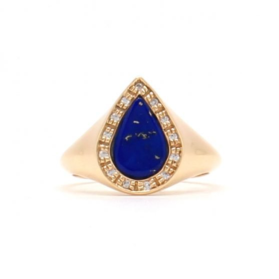 Lapis Diamond Signet Ring