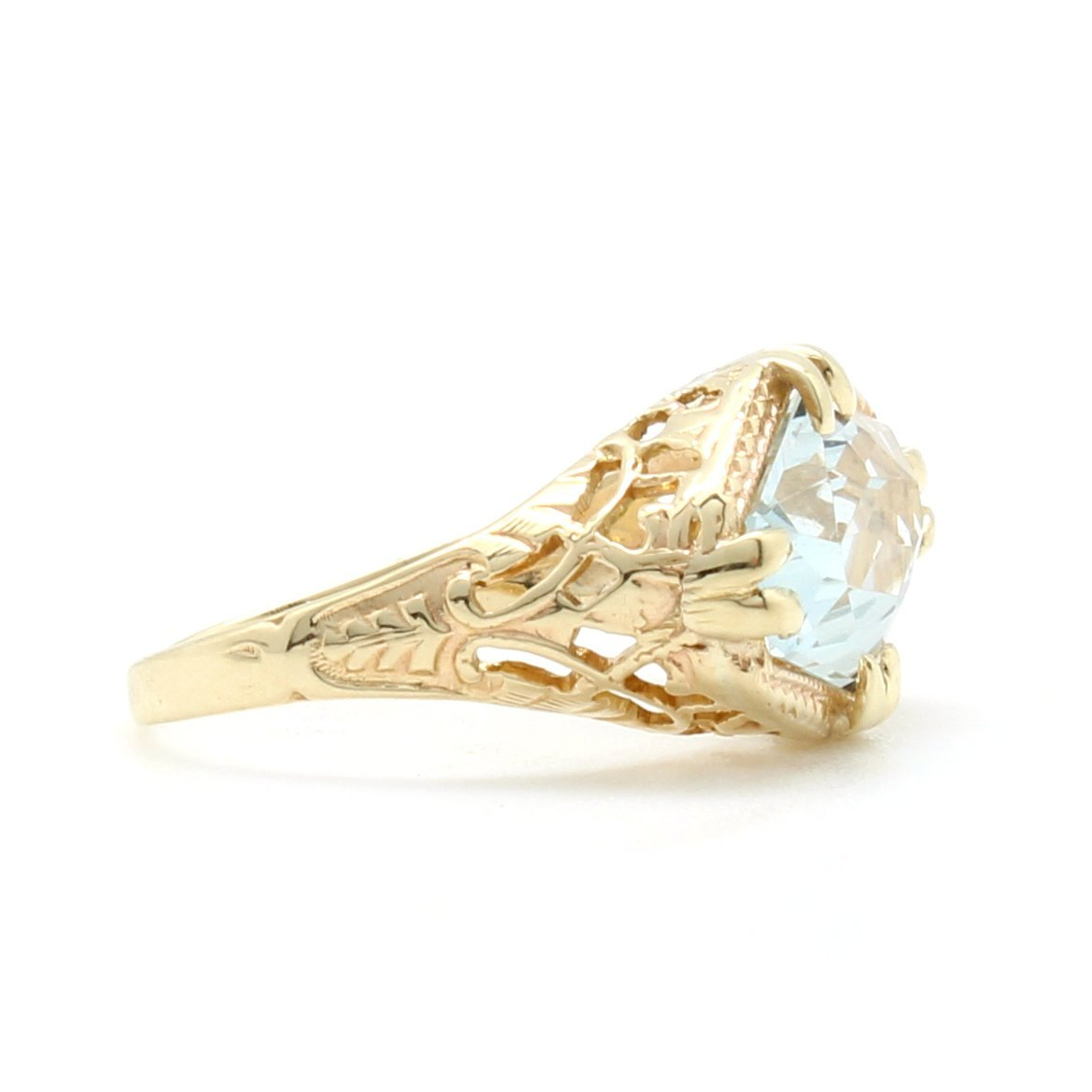 vintage aquamarine filagree ring d h jewelers