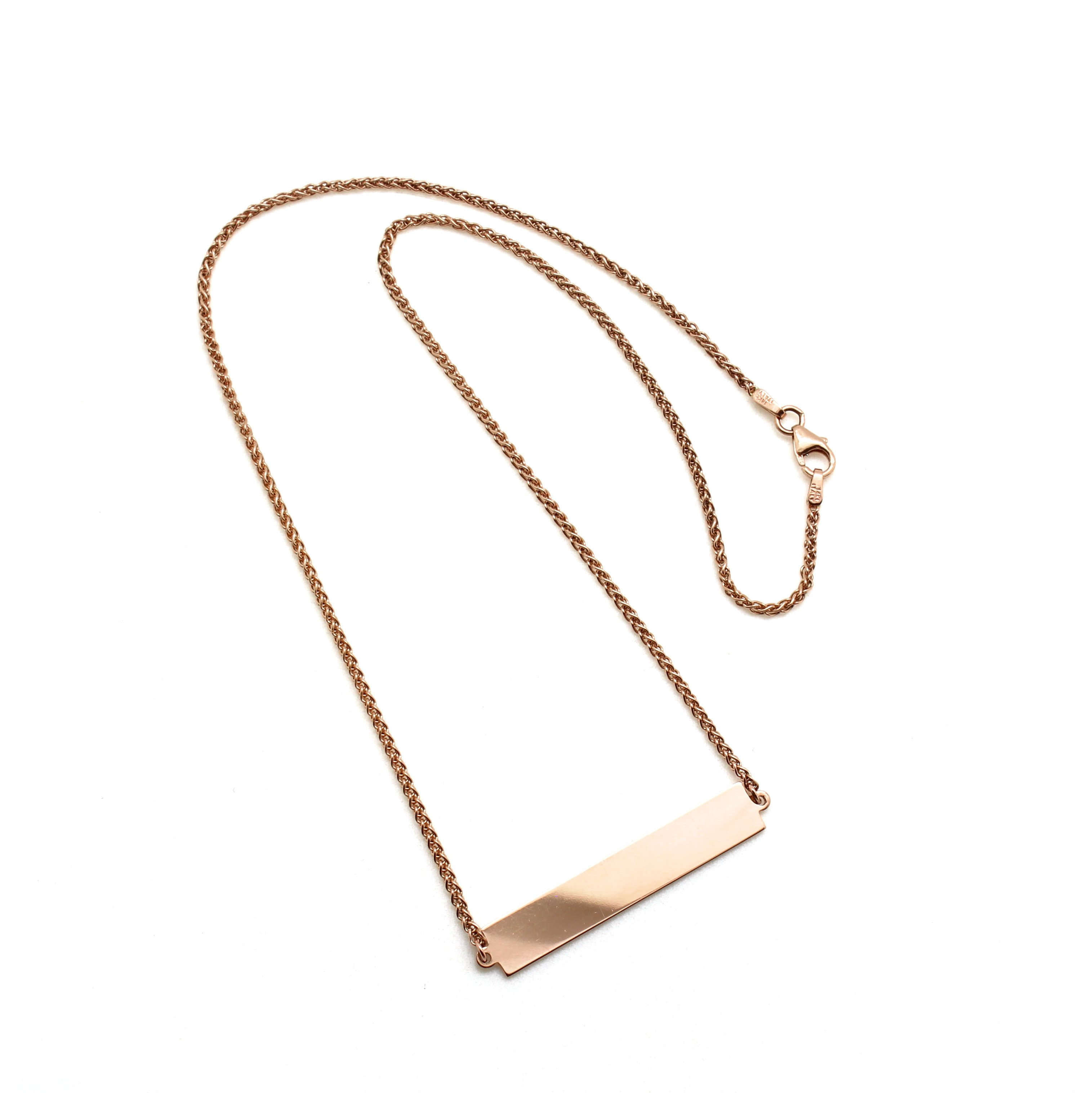 rose gold nameplate necklace d h jewelers. Black Bedroom Furniture Sets. Home Design Ideas