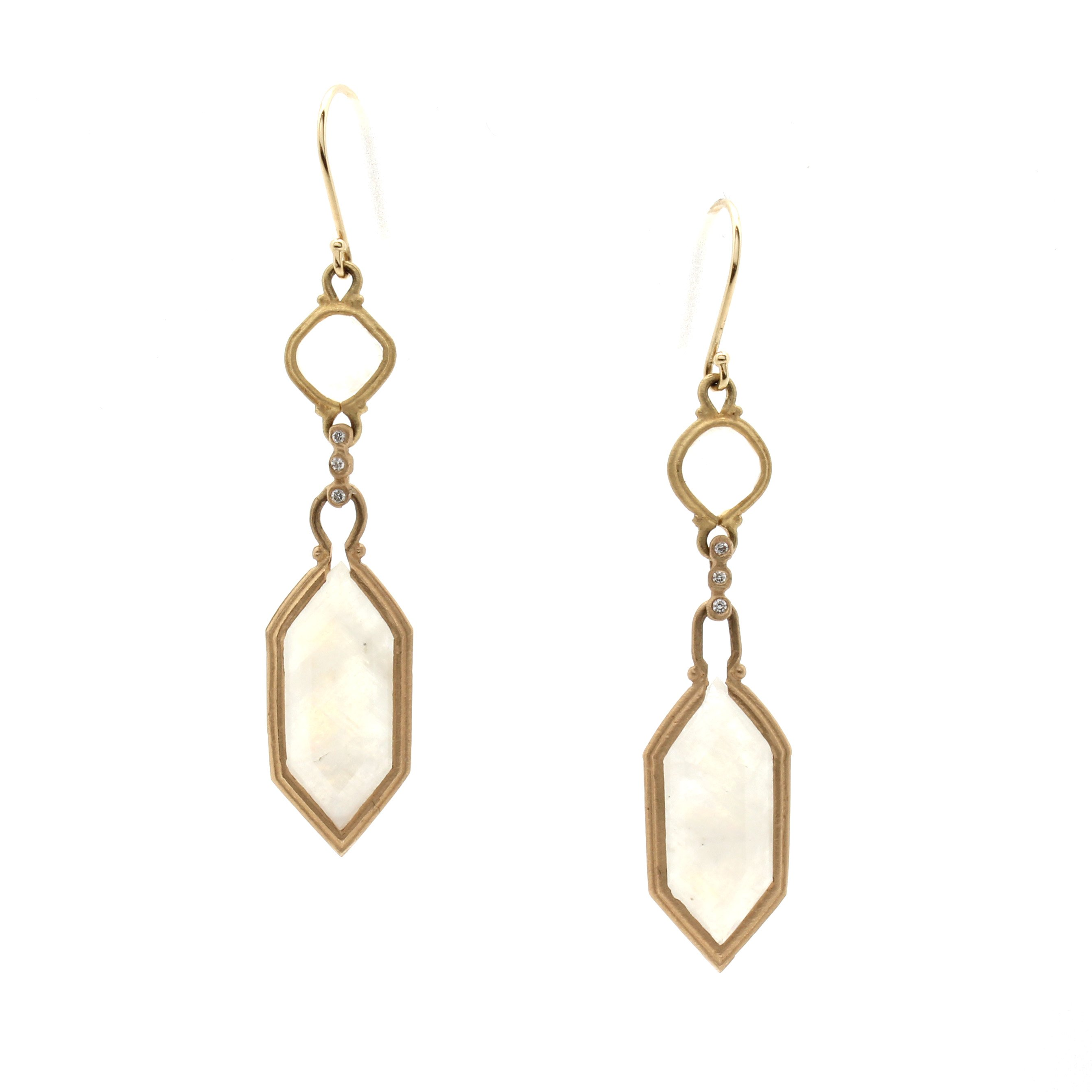 plated geometric threader pin earrings gold hexagon k products